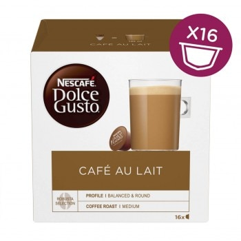 Café au Lait Coffee Next To Brown Box